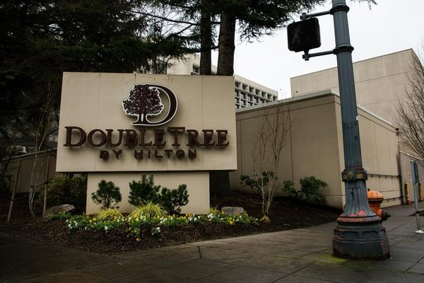 <p>The DoubleTree by Hilton hotel in the Lloyd District of Portland, Oregon, Friday, Dec. 28, 2018.</p>