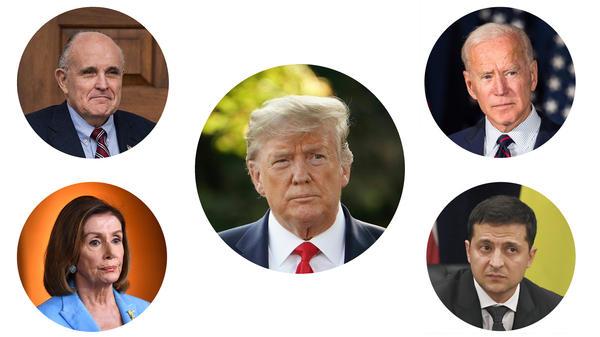 Clockwise from top left: Rudy Giuliani, President Trump, former Vice President Joe Biden, Ukrainian President Volodymyr Zelenskiy and House Speaker Nancy Pelosi.