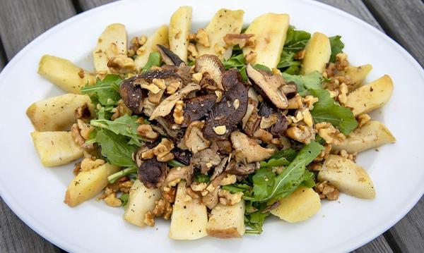 Roasted Apple and Mushroom Salad on Arugula (Robin Lubbock/WBUR)