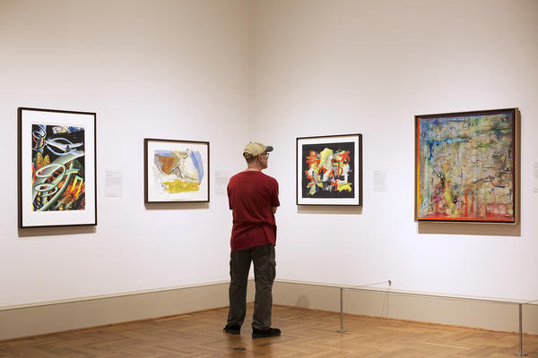 A visitor looks at pieces on display at the St. Louis Art Museum's 'The Shape of Abstraction: Selections from the Ollie Collection' exhibit.