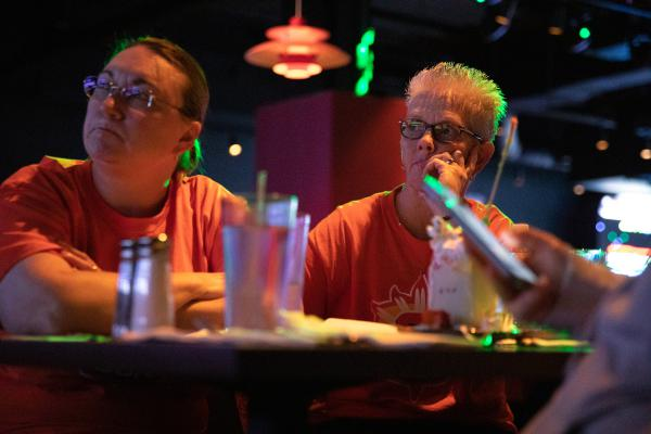 Debbie Herchen of West Warwick, Rhode Island watches on as the Connecticut Sun fall to the Washington Mystics in Game 5 of the WNBA Finals. Sun fans gathered at Game On sports bar inside Mohegan Sun.