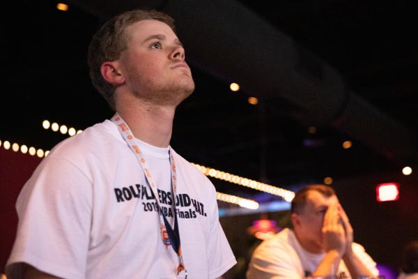 Joey Bacon, 22, of Ledyard, looks on as Washington finished off the Sun's season in Game 5 of the WNBA Finals Thursday, October 11. Connecticut failed to win a title in its third WNBA finals appearance.