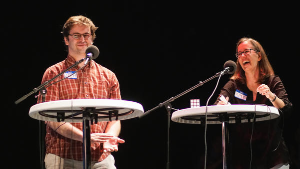 Contestants Zach Popkin-Hall and Amy Paul appear on <em>Ask Me Another</em> at Cullen Performance Hall at the University of Houston, in Houston, Texas.