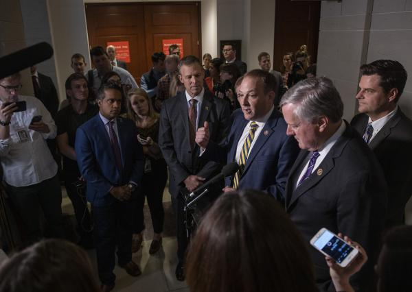 U.S. Rep. Lee Zeldon (D-NY) speaks at a press conference at the U.S. Capitol on in Washington, DC. Zeldon spoke on reports that the Trump administration has blocked the testimony of U.S. Ambassador to the European Union Gordon Sondland in the House impeachment inquiry.