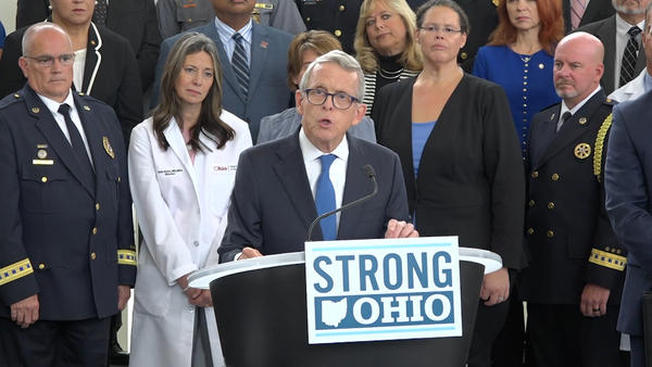 Gov. Mike DeWine unveils his STRONG Ohio plan in front of law enforcement, mental health professionals and state officials.