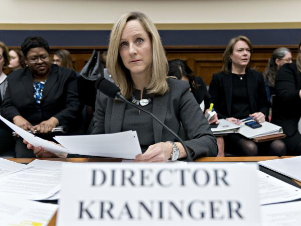 Kathleen Kraninger is director of the Consumer Financial Protection Bureau, an agency that was thwarted by the U.S. Department of Education from examining problems with a troubled student loan forgiveness program.