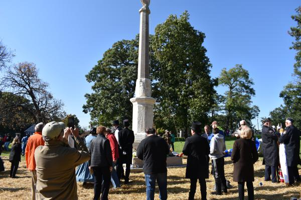 The Shaft, fully restored and unveiled at Peoria's Springdale Cemetery