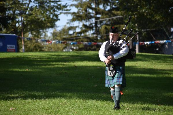 "Greg Boyd plays ""Amazing Grace"" on his bagpipes."