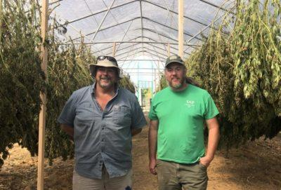 Tony Silvernail (left) and Shawn Lucas (right) inside their high tunnel where hemp is drying.