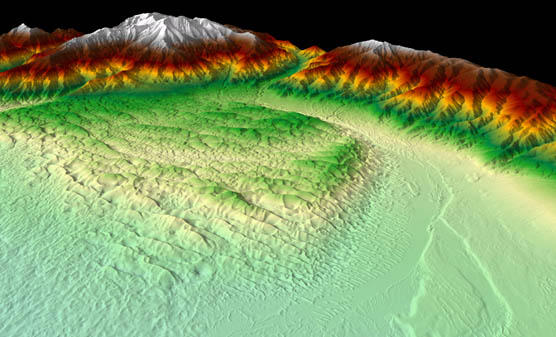 3D Lidar representation of bare earth data of the Great Sand Dunes National Park and Preserve in Colorado.