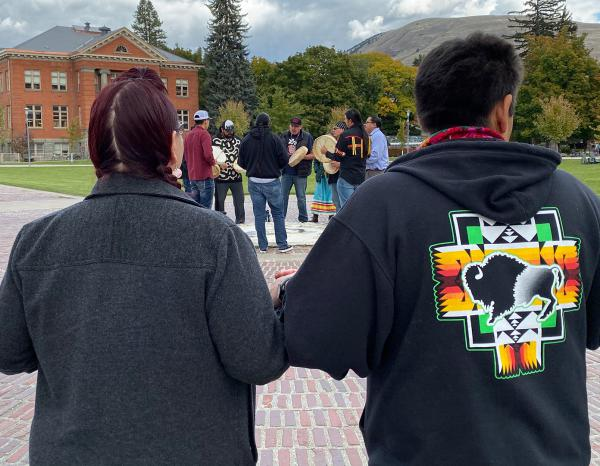 Drummers at the UM oval during an Indegenous Peoples Day celebration in Missoula, Oct. 14, 2019.