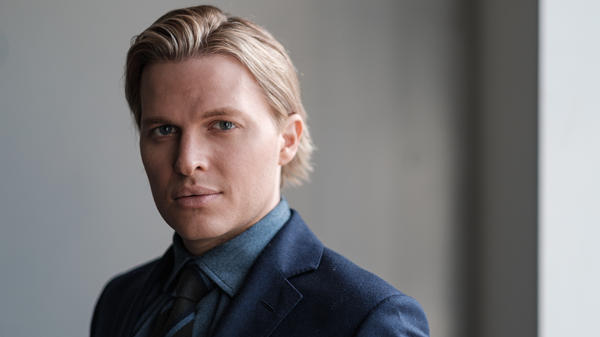 Pulitzer Prize-winning investigative journalist Ronan Farrow poses for a portrait in NPR's Manhattan offices ahead of the release of his book <em>Catch and Kill.</em>