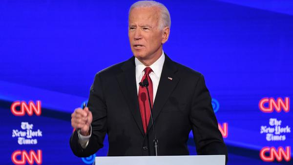 Former Vice President Joe Biden, one of the Democratic presidential hopefuls, speaks during the fourth Democratic presidential debate, which was co-hosted by <em>The New York Times</em> and CNN.