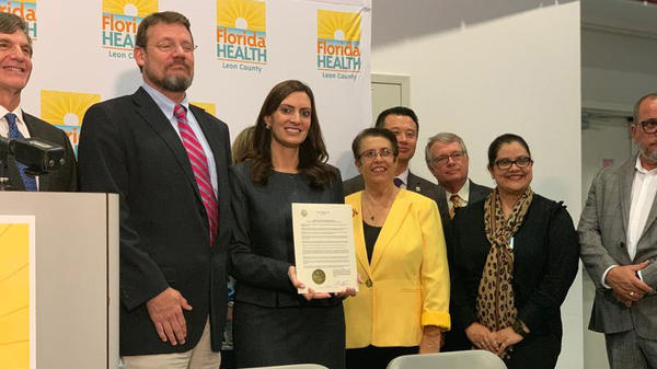 FL Surgeon General Scott Rivkees, second from left, and Lt. Gov. Jeanette Nunez were joined by CDC representatives to observe National Latino HIV/AIDS Awareness Day Tuesday. COURTESY FL LT. GOVERNOR'S OFFICE/FACEBOOK