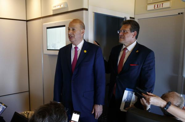 Gordon Sondland, U.S. ambassador to the European Union (left), and EU Vice President Maros Sefcovic speak with reporters about trade as they travel with President Trump on May 14.