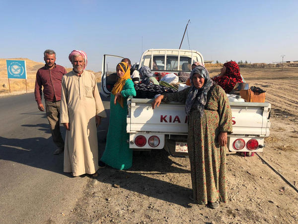 Mohammed Sheikho and his family fled heavy fighting in their town of Tel Abyad, Syria, and had been on the run for three days trying to reach safety in Iraq, when NPR encountered them in northeastern Syria on Sunday.