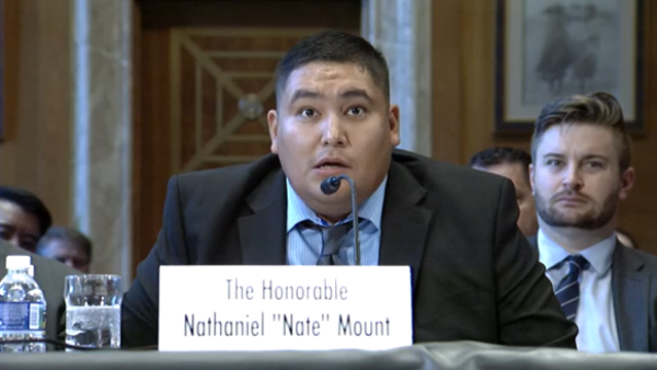 Fort Belknap Council Member, Nathaniel Mount, during a Senate Committee on Indian Affairs hearing on Wednesday October 16, 2019.