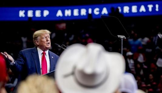 President Donald Trump speaks at a campaign rally at American Airlines Center in Dallas, Thursday, Oct. 17, 2019.