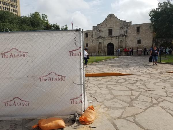 Construction at the Alamo.