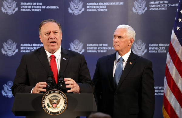 US Vice President Mike Pence (R) and US Secretary of State Mike Pompeo (L) attend a press conference after a meeting with Turkish President, in Ankara, Turkey.