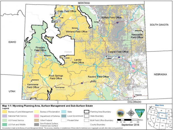 Wyoming Planning Area, Surface Management and Sub-Surface Estate within 2019 Wyoming's Final Resource Management Plan.