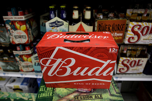 A twelve pack of Budweiser sits on a shelf for sale at a convenience store in New York City.