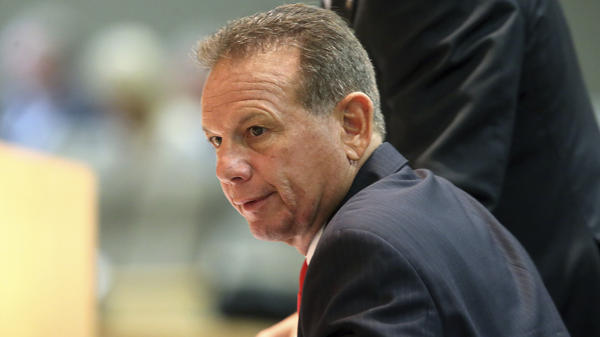 Former Broward County Sheriff Scott Israel appears before the state Senate Rules Committee concerning his dismissal by Gov. Ron DeSantis on Monday in Tallahassee, Fla.