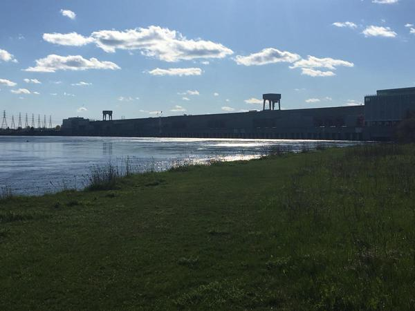 Water from Lake Ontario is released into the St. Lawrence River through the Moses Saunders Power Dam in Massena
