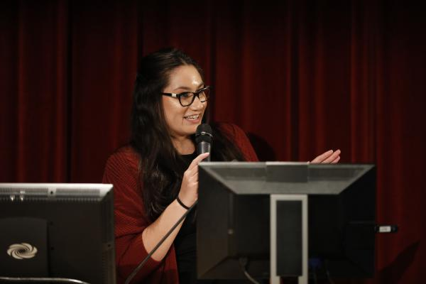 UNLV Graduate Student Monserrath Hernandez speaks at a panel event celebrating the launch of a podcast highlighting the work of the Latinx Voices of Southern Nevada project.