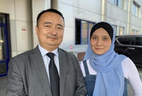 Serikjan Bilash (left), co-founder of Atajurt, and wife Leila Adilzhan in Almaty, Kazakhstan. Per the terms of a plea deal, Bilash can't work in political activism for the next seven years, which includes calling out China's repression of Kazakhs.