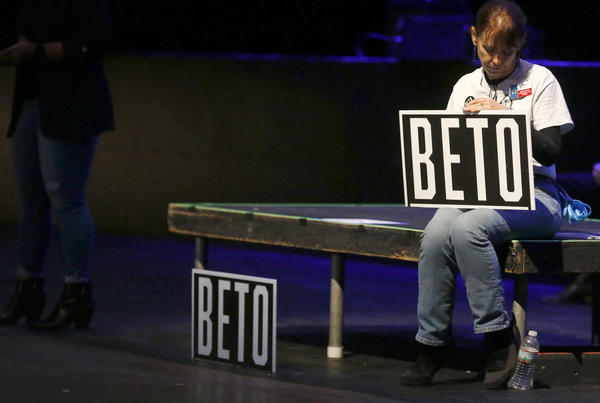 A Beto supporter waits inside the Verizon Theatre where Democratic presidential candidate, former Rep. Beto O'Rourke (D-TX) will speak at a campaign rally  in Grand Prairie, Texas. O'Rourkes Rally Against Fear is being held to counter President Trump's campaign rally today in Texas.