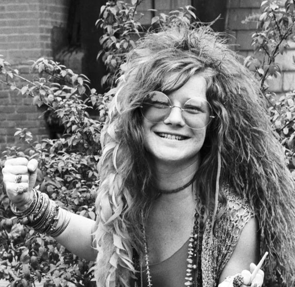Janis Joplin on the roof garden of the Chelsea Hotel in New York City in June 1970.
