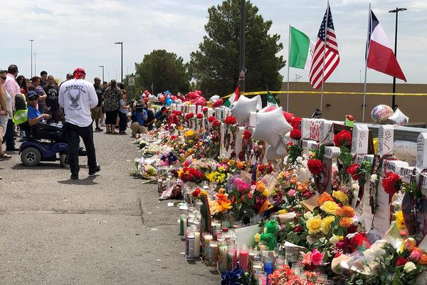 A makeshift memorial for the victims of the Aug. 3 El Paso mass shooting behind the Walmart where the shooting took place.