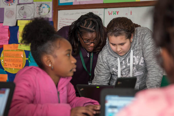 Teacher Sonja Brewer works with gifted students in March 2018 at Washington Elementary School in Normandy. The district had restored its gifted program, something rural schools have stuggled to do following cuts a decade ago.