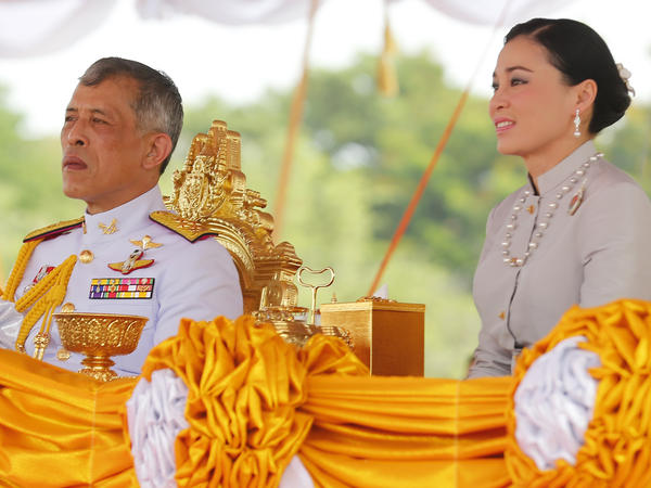 Thailand's King Maha Vajiralongkorn and Queen Suthida watch the annual Royal Ploughing Ceremony in Sanam Luang in May.