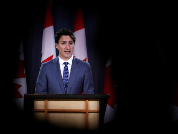 Canada's Prime Minister Justin Trudeau speaks to the news media  in Ottawa on Wednesday for the first time since winning a minority government in the federal election.