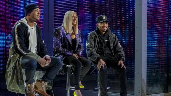 T.I., Cardi B and Chance the Rapper sit in judgment on Netflix's <em>Rhythm + Flow</em>.