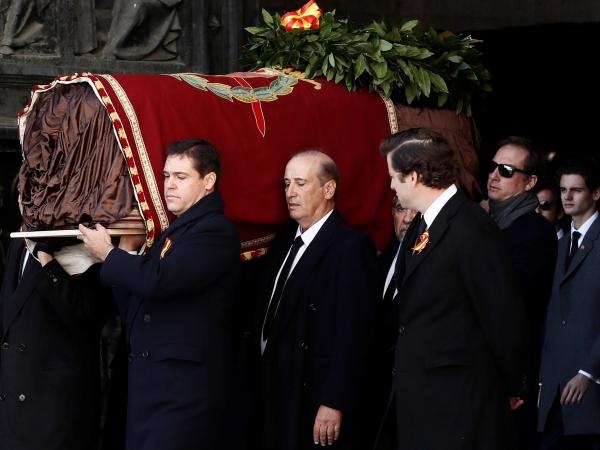 Francisco Franco, Spain's fascist dictator, who died in 1975, being exhumed from his purpose-built mausoleum, the Valley of the Fallen. His remains are being transferred to the crypt in Mingorrubio state cemetery where his wife is buried.