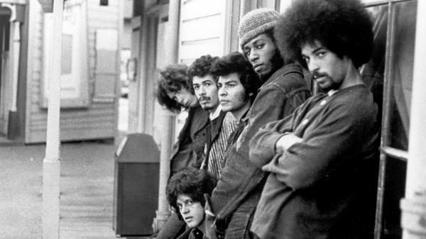 The lineup of Santana as of May, 1969, photographed in San Francisco. From left: Michael Shrieve, Carlos Santana, Gregg Rolie, Jose 'Chepito' Areas, David Brown and Michael Carabello.