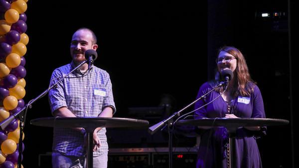 Contestants Sam Cappoli and Kate Morics appear on <em>Ask Me Another </em>at the Lobero Theatre in Santa Barbara, California.