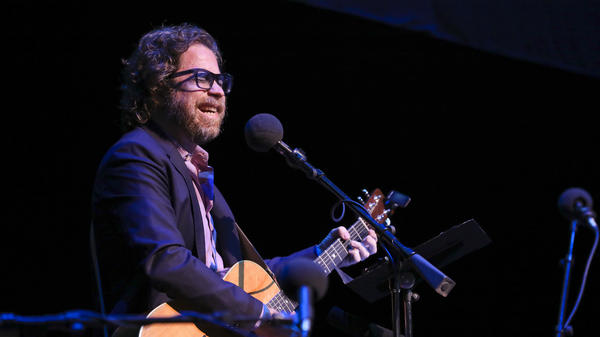 <em>Ask Me Another</em>'s house musician Jonathan Coulton leads a music parody game at the Lobero Theatre in Santa Barbara, California.