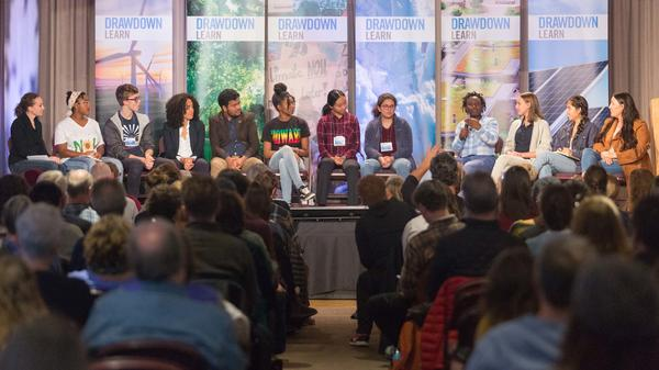 Fourteen-year-old Jaysa Mellers speaks during the panel discussion among youth climate activists at the Drawdown Learn Conference.