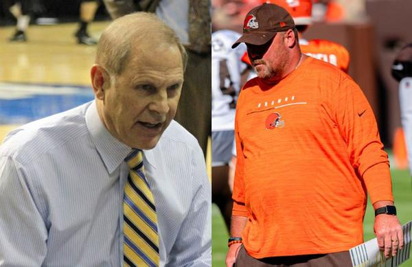 On the left, Cavaliers coach John Beilein. Browns coach Freddie Kitchens is on the right. .