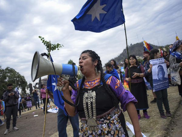 A Mapuche woman protests on Saturday in Santiago, Chile, a day after the massive anti-Piñera demonstration gathered an estimated one million people in the capital city.