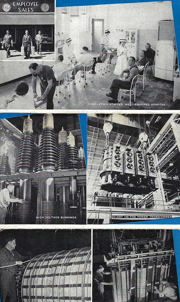 Undated GE postcards show the medical center at the plant in Pittsfield, Massachusetts, and the transformers produced there.