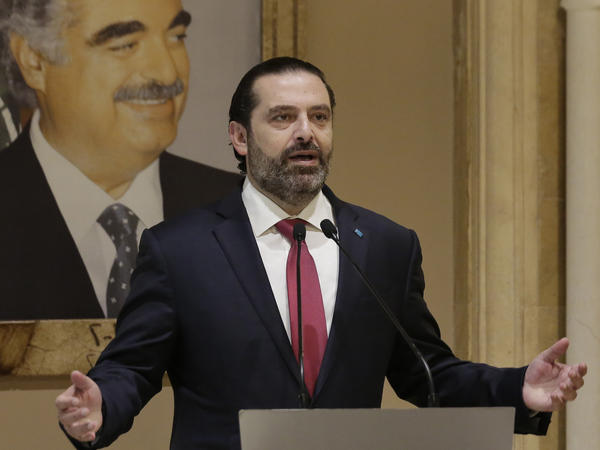 """Lebanese Prime Minister Saad Hariri speaks during an address to the nation in Beirut, Lebanon on Tuesday. The embattled prime minister said he was presenting his resignation after he hit a """"dead end"""" amid nationwide anti-government protests."""