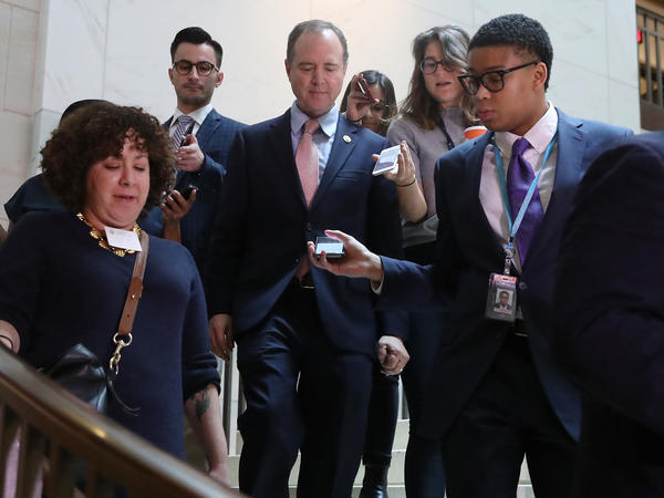 U.S. House Intelligence Committee Chairman Rep. Adam Schiff walks to the closed-door deposition of Lt. Col. Alexander Vindman on Capitol Hill on Tuesday.