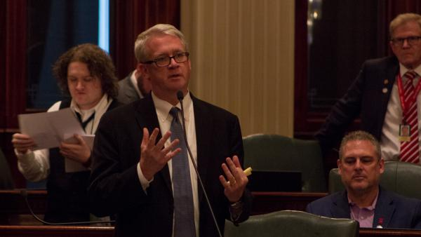 House Republican Leader Jim Durkin, shown here in a file photo from June 2019, is urging the House to move quickly to expel Rep. Luis Arroyo.