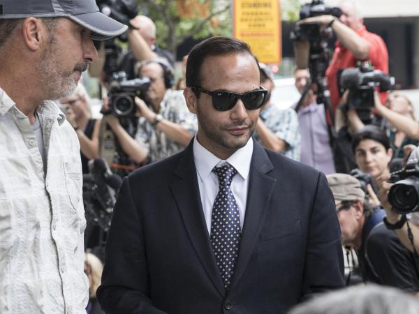 Former Trump campaign aide George Papadopoulos leaves the U.S. District Court after his sentencing hearing in September 2018 in Washington, DC.