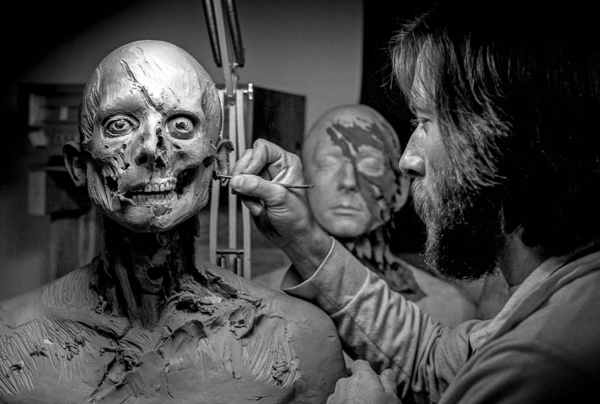 Rick Baker sculpts a puppet head for the 1981 film <em>An American Werewolf in London</em>. Now retired, Baker's work has been collected in the two-volume collection <em>Metamorphosis.</em>